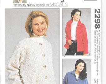 McCalls 2298 - Sewing with Nancy Series - Misses Unlined Fleece Jacket/Coat - sizes 8 - 22 - New/uncut