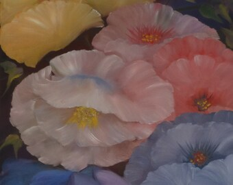 Floral Oil Painting  - An Original painting by Wendy Margrave- In Full Bloom
