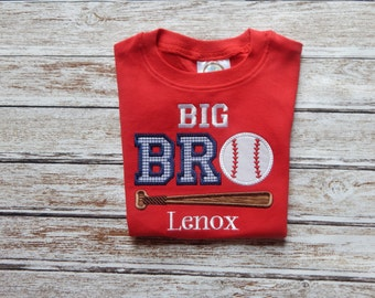 Brother shirt; BIG BROTHER Shirt; Little Brother shirt; Boy's red shirt; Baseball shirt; Boys red short sleeve shirt