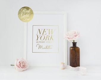 Real Gold Foil New York City, Manhattan, Typography Poster, NYC, Bedroom Poster, Wall Decor, Home Decor Print, NY Print, Calligraphy Print,