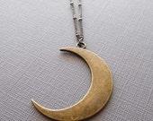 Moon Necklace / Crescent Moon Necklace / Brass Half Moon/ Crescent Moon/ Boho Moon Jewelry//GB8