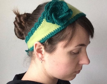 Flower Headband - Upcycled Cashmere Headband - Crochet Flower - Upcycled Sweater - Repurposed Sweater - Cashmere Headband - Green/Teal