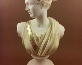 Diana Artemis Alabaster statue bust patina aged Goddess of hunt artifact
