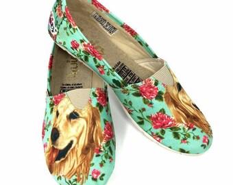 GOLDEN RETRIEVER SHOES,  Women shoes, Dog Lovers, dog breeds, golden retriever, pawies