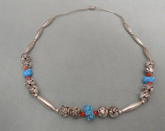 Southwestern Necklace Sterling Silver, Turquoise and Coral.    Stock #(1463).