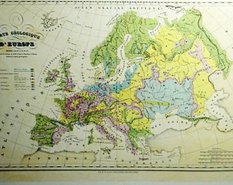 Carte de Geologique D'Europe by TH. Lejeune Old Map Print Reproduction