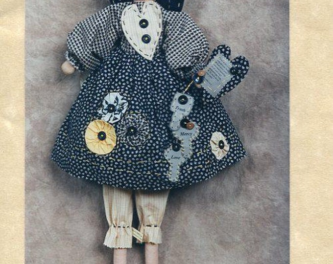 Free US Ship Rag A. Muffin Doll Primitive Folk Art UNCUT 1996 Craft Sewing Pattern NumbThimble Pattern Co The Keeper of the Keys 732