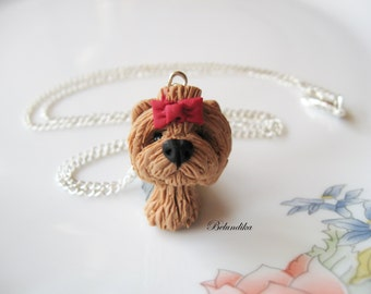 Yorkshire terrier necklace,polymer clay