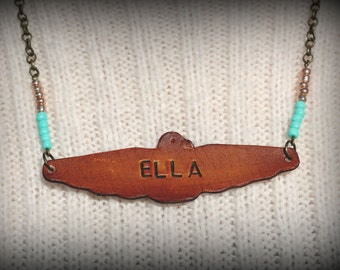 Custom Personalized Handstamped Leather Thunderbird Necklace, Customized Handmade Leather Jewelry