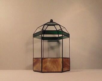 Hexagonal stained glass terrarium
