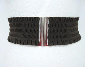 Brown corset belt Elastic Stretch Very wide Silver simple belt womens elastic cinch belt