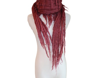 Merino Wool Scarf, Soft Raspberry / Women's Scarf / Spring Scarf / Pink Scarf / Wool Scarf / Gift for Her / Felted Scarf