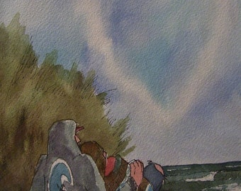 Lovers on the Beach,11x14 Watercolor,White Mat,ONE OF A KIND,Not a