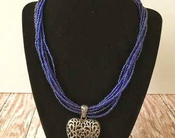 Blue Chunky Necklace   Royal Blue Statement Necklace   Blue Statement Necklace   Blue Bridesmaid Jewelry   Seed Bead Necklace   Chunky Blue