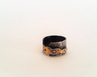Riveted Silver Ring with Gold