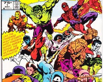 Secret Wars 1. Avengers comic book, X-Men, Storm, She Hulk, Captain America, Thor, Spiderman, Iron Man. 1984 Marvel Comics in VFNM(9.0)