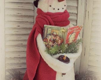 "Primitive cloth Snowman PATTERN ""Caroling Snowman"" CF 904"