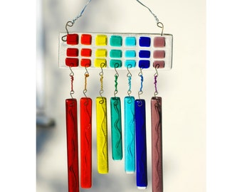 Rainbow WindChime Suncatcher for Garden or Home, Very Colourful Fused Glass Art, Handmade