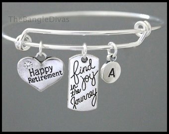JOY / Initial Bangle - Personalized and Expandable Find Joy in The Journey and Happy Retirement Bangle Bracelet - USA 755