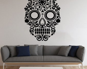 Sugar Skull Wall Decal Sugar Skull Vinyl Sticker Wall Vinyl Decals Wall Vinyl Decor /3lta/