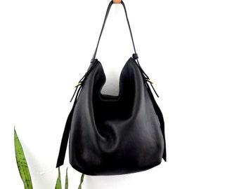 Leather Hobo Bag Minimalist Hobo Bag Black Leather Shoulder Bag Lev Hobo