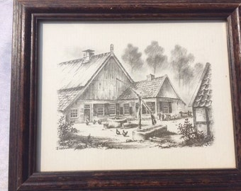 Vintage Wooden Frame With A Picture Old Dutch Farm8.75x7 Inches Decorative Wooden Frame Old Wooden Frame Nr 2