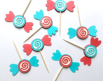 Candy Cupcake Toppers, Paper Candies, Candy Cake Toppers, Kid Birthday Party, Food Picks, Circus Birthday Decoration (Set of 12)