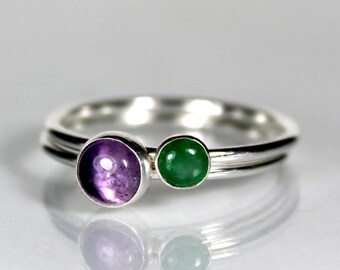 Amethyst and Emerald Stacking Set, Sterling Silver Rings, Precious Gemstone, Purple Green Stone, Gifts for Her, February May Birthstone