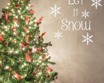 Let It Snow Decal, Winter Decal, Holiday Decal, Christmas Decal,SALE