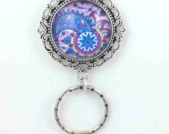 Blue Purple Paisley Magnetic ID Badge Eyeglass Holder