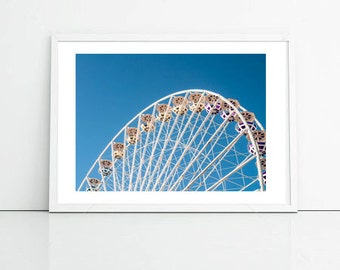 Ferris Wheel, Retro, Kids Room, Urban Photography, City Photography Printable Art