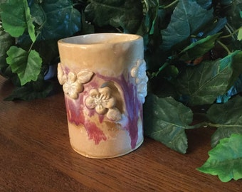 Luminary with cut out flowers, Handmade Pottery