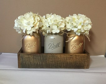 Rustic Planter Box Set with 3 Painted Mason Jars, Gold, Rustic Decor, Wedding Centerpiece, Rustic Decor, Mason Jar Decor, Rustic Centerpiece