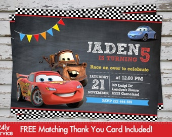 Cars Invitation Disney cars Invitation Lightening Mcqueen Invite Maters Invite with Free Matching Thank You Card