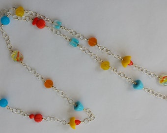 Mixed Glass and Chain Necklace