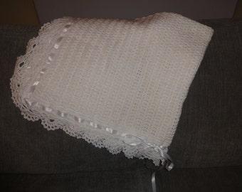 Super Cute White Baby Blanket Crochet - Super Soft Wool