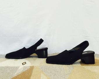 square toe slingback mules - vintage clog wedges - cushioned heel shoes - size 8 - european size 37-38