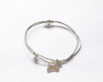 Grey Leather Bracelet With Silver Plated Scotty Dog