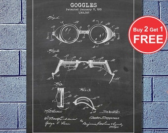 Swim Goggles (1915), Vector Blueprint Patent Prints Posters, Swimming Patent, Goggle Invention (#061)