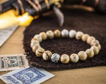 8mm - Jasper stone beads stretchy bracelet made to order yoga bracelet, natural womens bracelet, mens bracelet, bead bracelet
