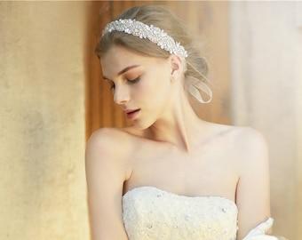 Rhinestone Bridal Headband, Crystal Headband, Wedding Headband, Flower Girl Headband, Baby girl headband,Bling Bow, Wedding Accessories