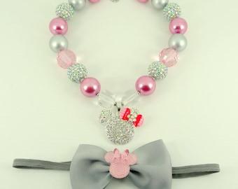 Bubblegum Necklace & Headband Set, Girl's Chunky Necklace Set, Girls Jewerly, Photo Prop Girl Necklace