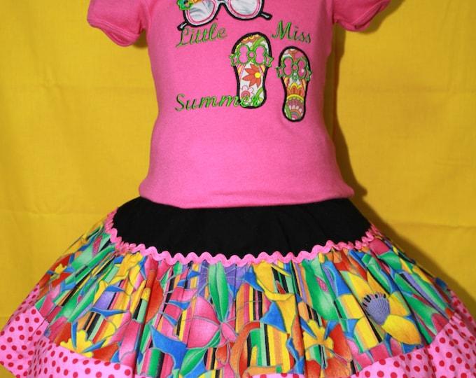 Girls Summer skirt set, Girls Sunglass applique shirt, Girls applique flip flop shirt, Hot Pink personalized shirt, 3 tier twirl skirt