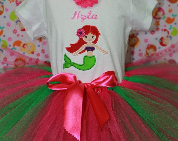 Little Mermaid outfit, Girls Mermaid shirt, Ariel shirt, Hot Pink tutu, Personalized Girls Mermaid shirt, Personalized girls shirt