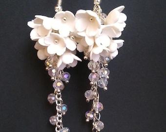 White cluster earrings Long earrings White jewelry Flower jewelry Flower cluster earrings Jewelry gift for her Bridal earrings