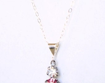 Swarovski Crystal Pendant Necklace Crystal Pendant Necklace Rose Crystal Necklace Fuchsia Crystal Necklace Sterling Silver Necklace