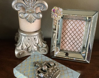 """4"""" x 9"""" Ivory Candle with Champagne Fleur and Bling - Free Shipping"""