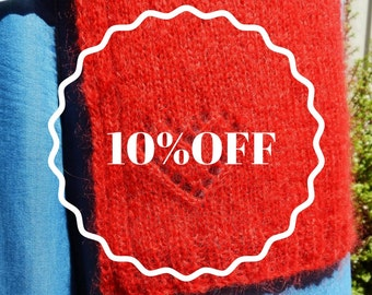 10% off sale. Extra long scarf, bright red scarf, mohair scarf