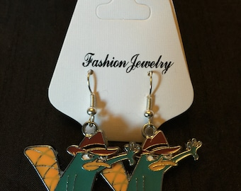 Silver Plated Phineas and Ferb Perry the Platypus Earrings