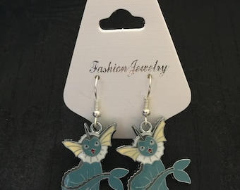 Silver Plated Pokemon Vaporeon Earrings